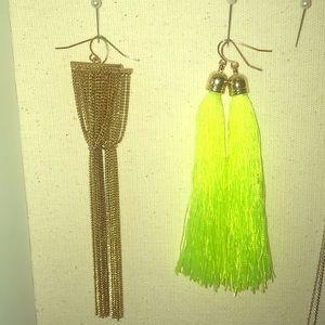 Lot 2 dangle earrings, tassel lime, gold